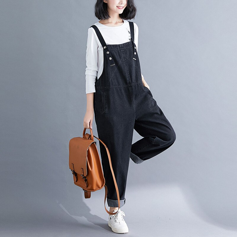 Spring Summer Women's Overalls Jeans New Large Size Black Denim Jumpsuit Loose Suspenders Jeans Casual Female Trousers Rompers 2