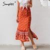 Simplee Bohemian floral print girls lengthy skirt Ruffled