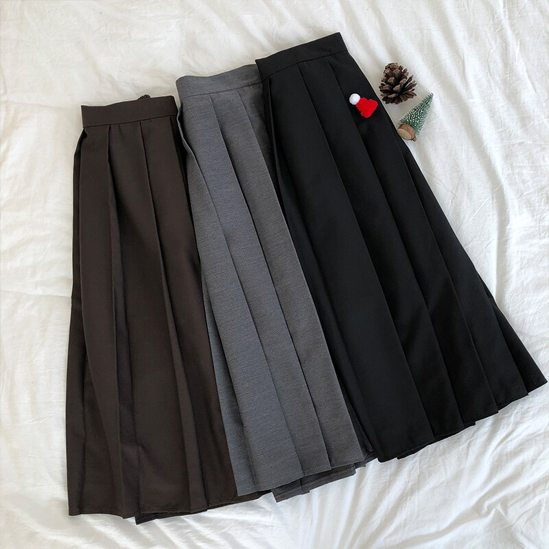 3 colors 2019 Spring Autumn Female long Skirts Women High Waist long pleated Skirt solid color a line skirt womens 2