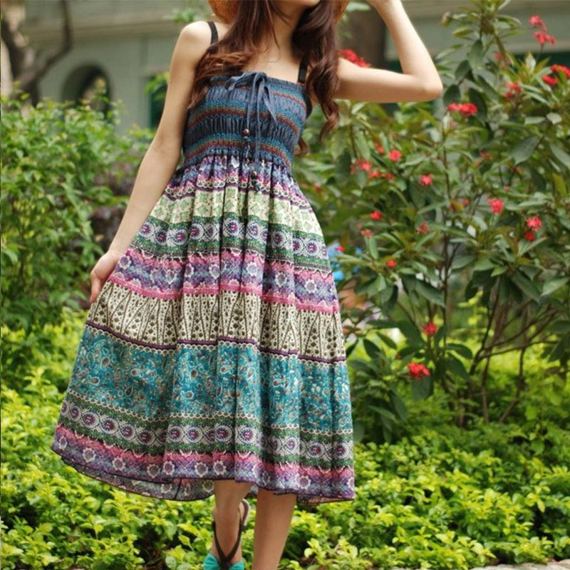 High Waist Boho Floral Women Long Skirt Pleated A-line Elastic Sashes Vintage Women's Skirts 2020 Spring Summer Fashion Clothes 4