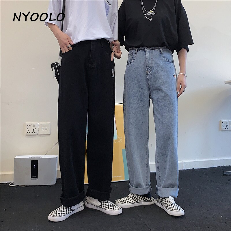 NYOOLO Harajuku style ulzzang daisy embroidery denim pants women men Casual streetwear high waist full length Straight jeans 1