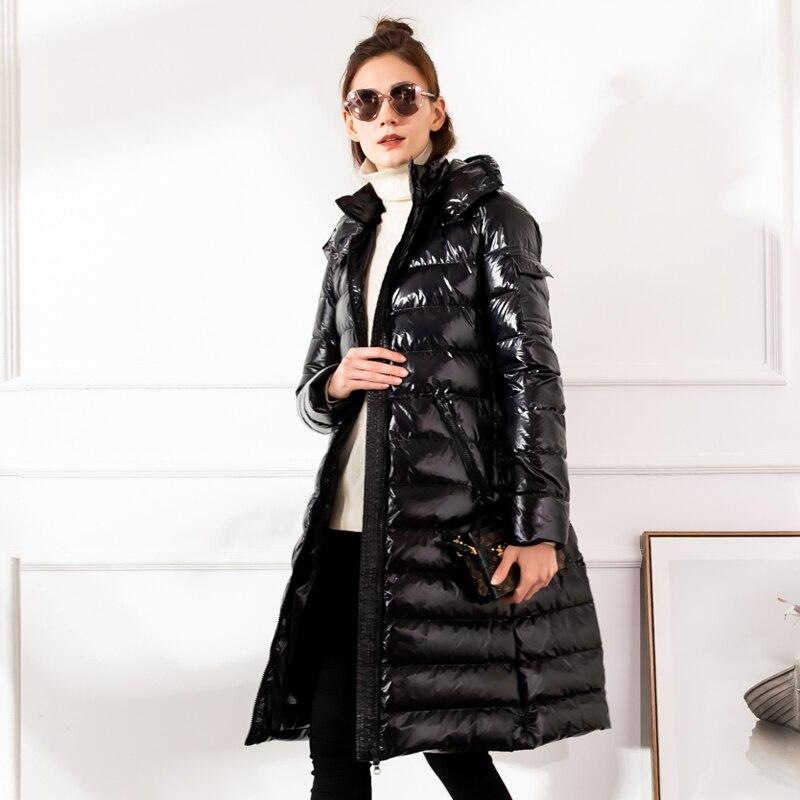 2019 Winter Large size Women down jacket Hooded Loose thick warm Female down coat Zip High quality Overcoat Elegant YNZZU 9O050 3