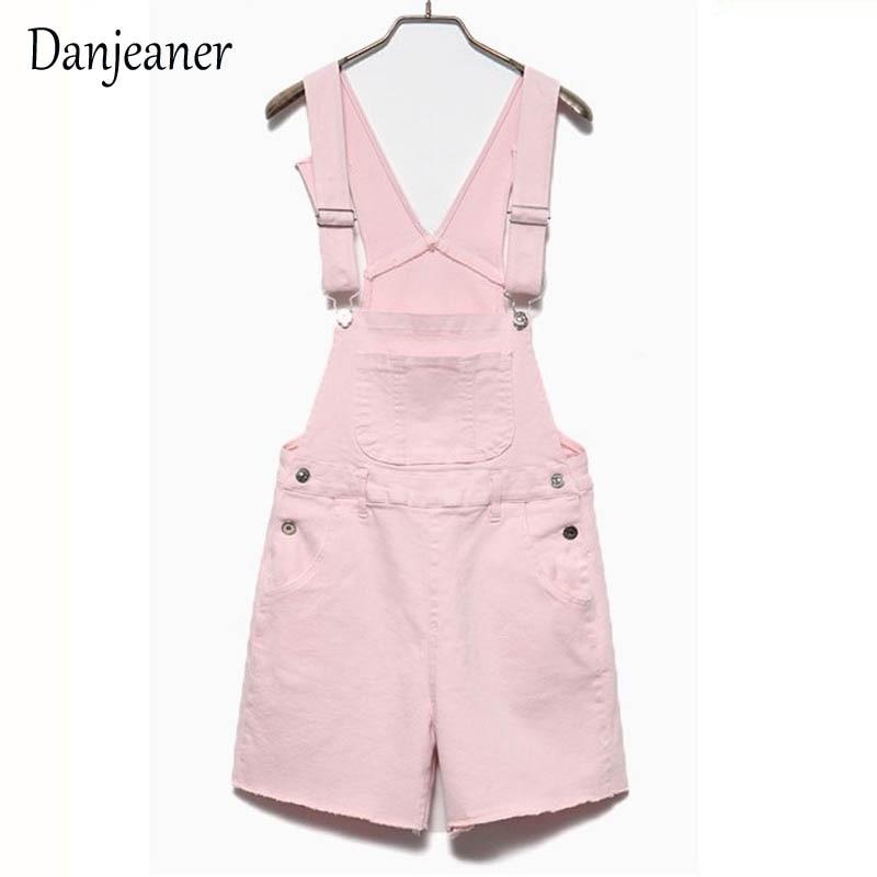Danjeaner Short Denim Jumpsuit Romper Women Summer Overalls Casual Jeans Short Playsuits Distressed Details Slim Dungarees Femme 3