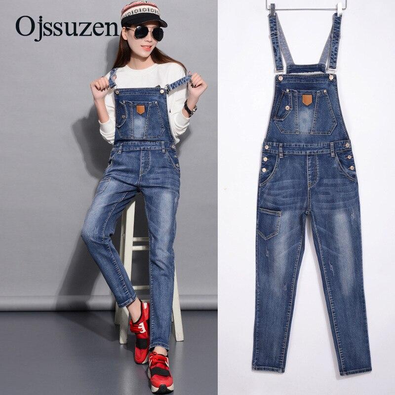 Spring Denim Jumpsuits Women Fashion Summer Romper Long Pants Elasticity Jeans Overalls For Women Jeans Bodysuits Ladies 2
