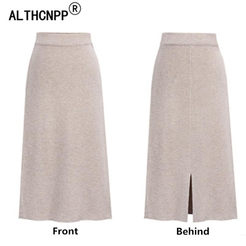 Plus Size M-6XL Winter Knitted Bodycon Pencil Skirt High Waist Skirts Womens Streetwear Split Long Skirt Female Faldas Mujer 3