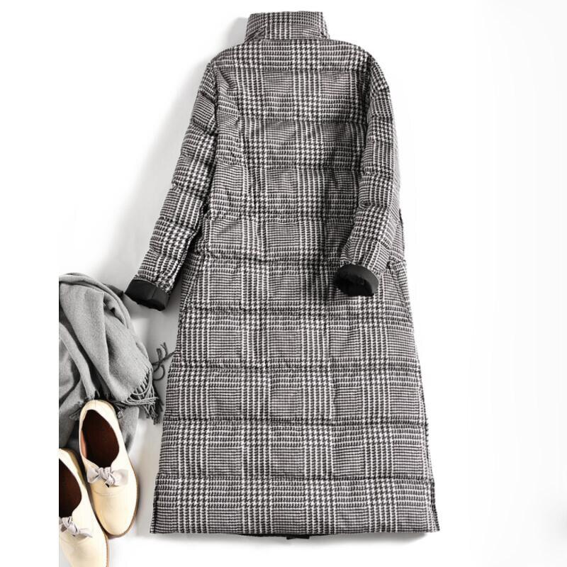 SEDUTMO Winter Long Plus Size 5XL Womens Down Jackets Ultra Light Coat Thin Double Sided Plaid Spring Slim Puffer Jacket ED931 3
