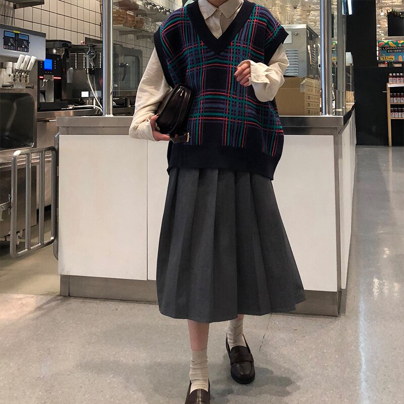 3 colors 2019 Spring Autumn Female long Skirts Women High Waist long pleated Skirt solid color a line skirt womens 4