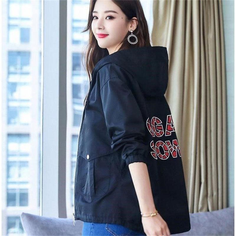 2020 New Women Jackets Autumn Windbreaker Female Long Sleeve Casual Hooded Jacket Zipper Lightweight Outwear Plus Size P713 2