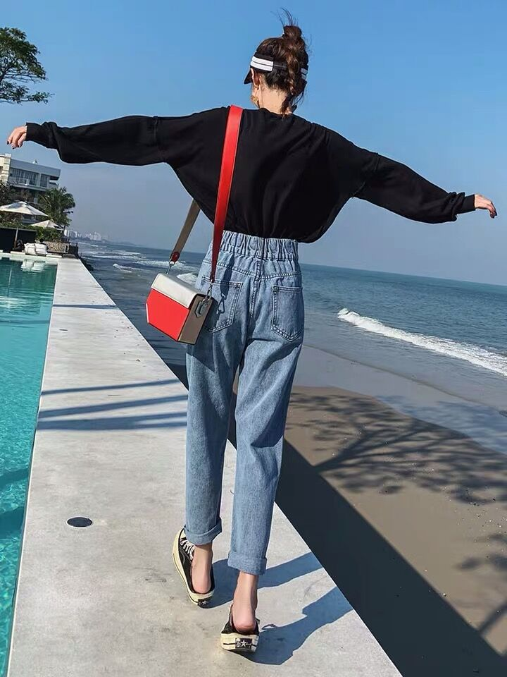 S-XL,2XL,3XL,4XL,5XL High Waist Jeans Woman plus size loose straight Jeans female elastic waist mom's denim womens (E208) 2