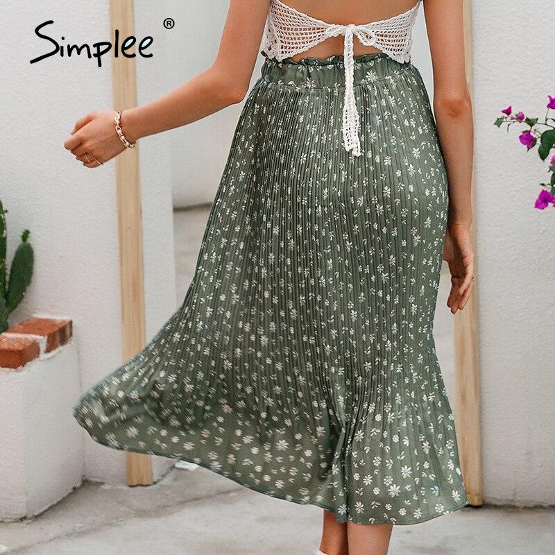 Simplee Bohemian ruffled high waist chiffon women long skirt Floral print skirt pleated summer skirt Female lining midi skirt 4