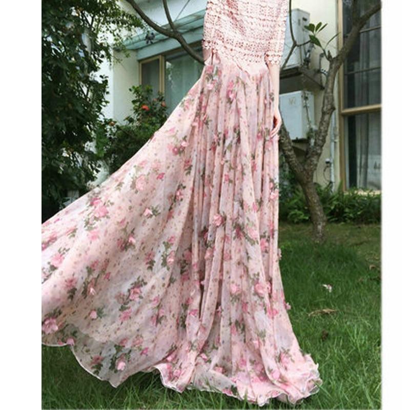 2020 Summer Woman New Large Plus Size 6XL 7XL 8XL Female Fashion Pink Chiffon Lace Polka Dot Floral Long Female skirt for Womens