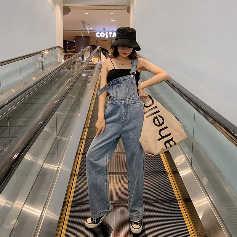 Ripped Jeans For Women Wide-Leg Overalls Pants With Shoulders Straps Korean-style High-waisted Loose Mopping Pants Denim Jumper 1