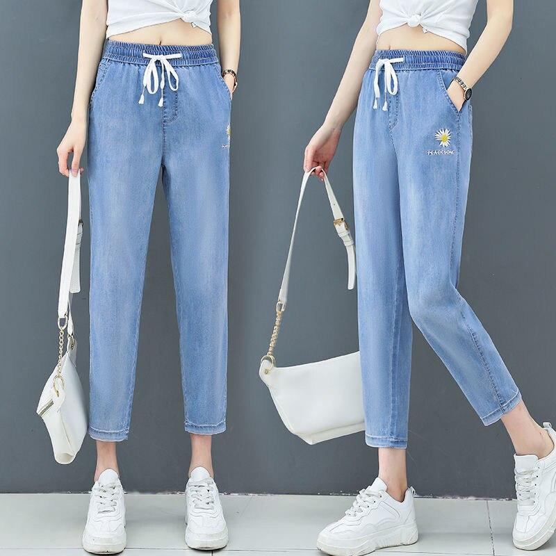 Summer Women Daisy Embroidery Tencel Jeans Elastic High Waist Drawstring Loose Straight Harem Denim Pants Boyfriend Jean Trouser 4