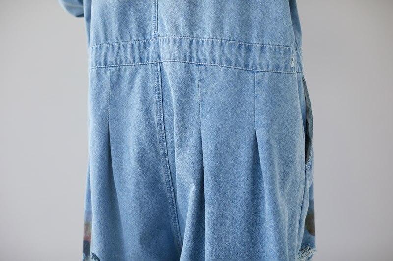 Plus Size Jeans Woman High Waist Long Sleeves Rompers Womens Jumpsuit Cotton Denim Overalls O-neck Print Loose Pantalon Femme 2