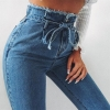Lace Up Ladies Denims Straight ripped Denims For Ladies