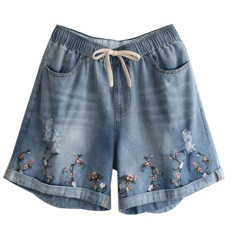 6158 new summer women elastic waist straight short jeans hole embroidery loose casual short pants 3