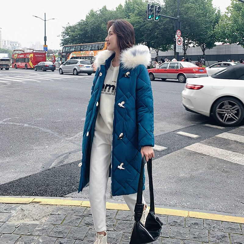 X-long Horn Button Women's Jacket Plus Size Solid Parkas Female Winter Hooded Loose Thick Cotton Padded Casual Outwear Coats 2