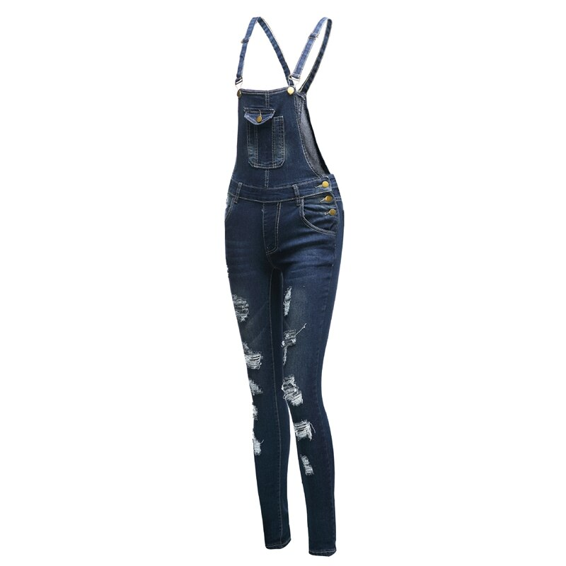 casual Denim Jumpsuit summer Ladies Long Pants rompers women jumpsuit Overalls ripped jeans Strappy Off Shoulder boyfriend jeans 4