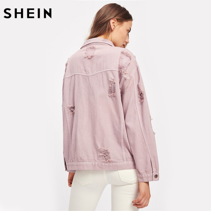 SHEIN Rips Detail Boyfriend Denim Jacket Autumn Womens Jackets and Coats Pink Lapel Single Breasted Casual Fall Jacket 2