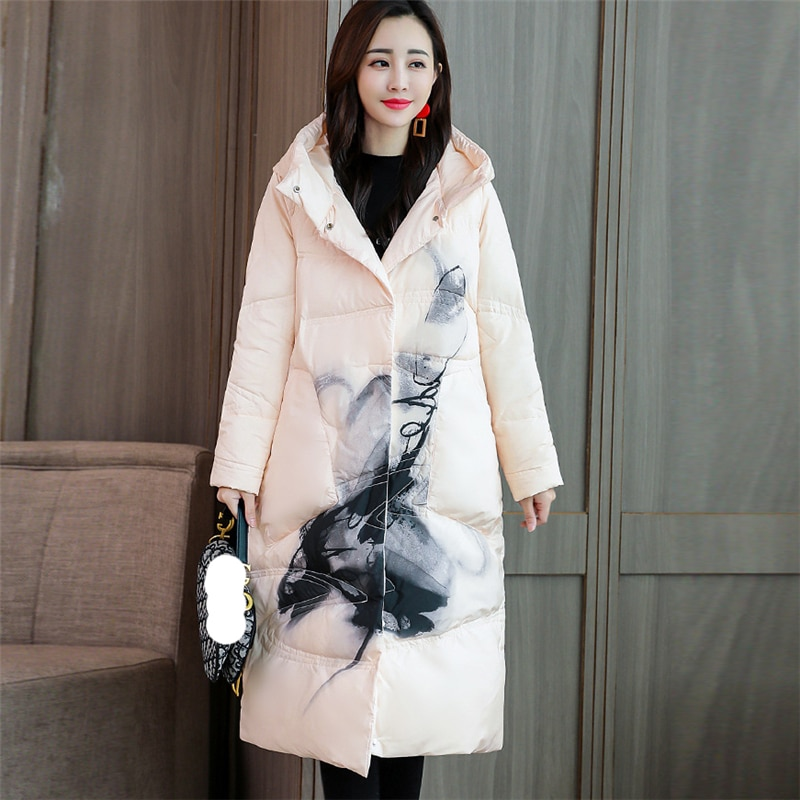 2020 New Winter Women Print Down jacket white duck down Loose Warm Chinese style down Coat Fashion Casual Hooded Parka W124 1