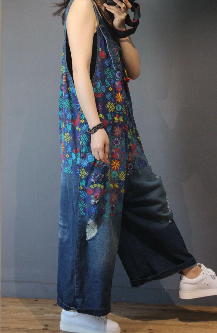 Women Denim Overalls Print Floral Vintage Plus Size Casual flower print Ripped Hole Wide Leg Jumpsuit Ladies Jeans Romper loose 2