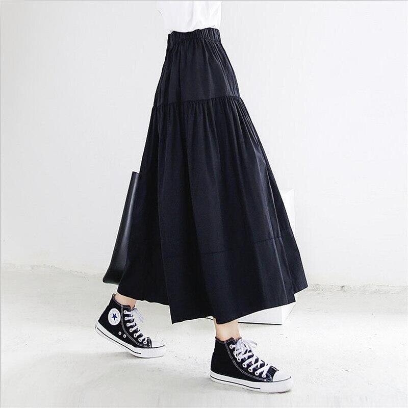 Summer Autumn Women Long Skirts 2020 Solid Elegant High Elastic Waist A Line Maxi Skirt Plus Size Skirts M-7XL Black Khaki Blue