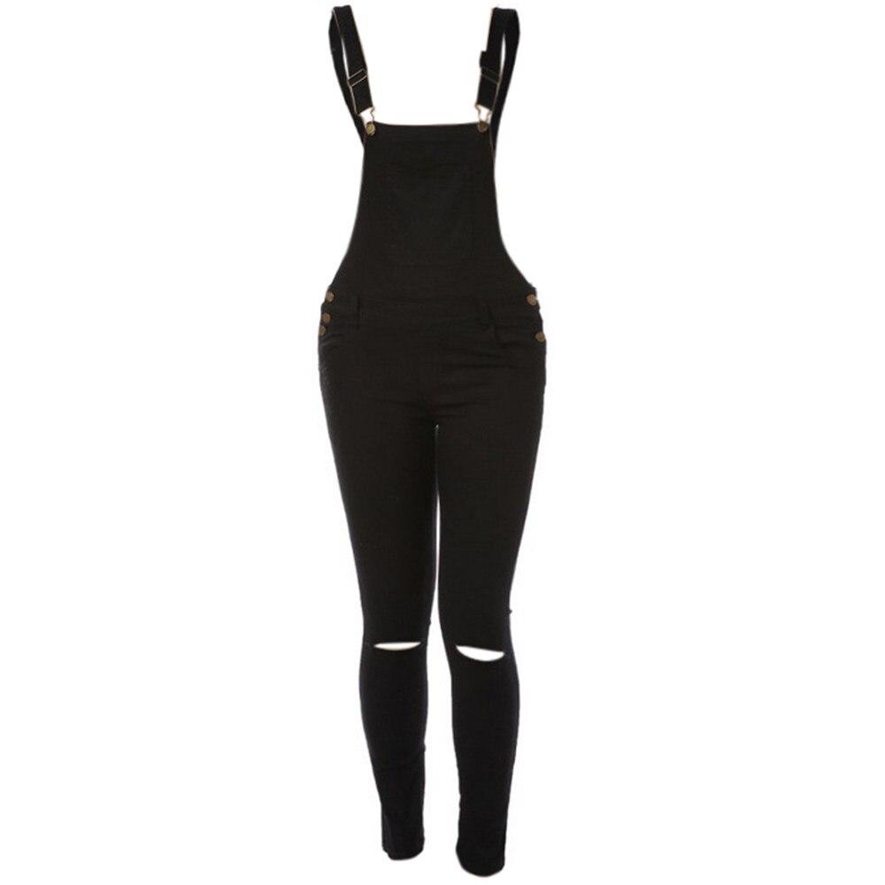Free Ostrich Jumpsuit 2019 Women Loose Denim Bib Hole Pants Overalls Jeans Demin Trousers S40 1