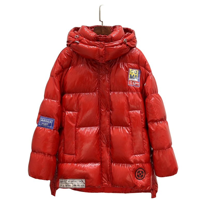 High Quality Glossy Down Parkas Coat Winter Jacket Womens Warm Hooded Down Jacket Red/Black Glossy Winter White Duck Down Coats 3