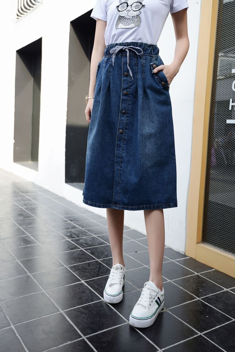2019 High Waist Cotton Denim Women Long Skirt Lace-Up Waist Oversize Women Denim Skirt Plus Size 7XL Women Skirts Faldas Saias 4
