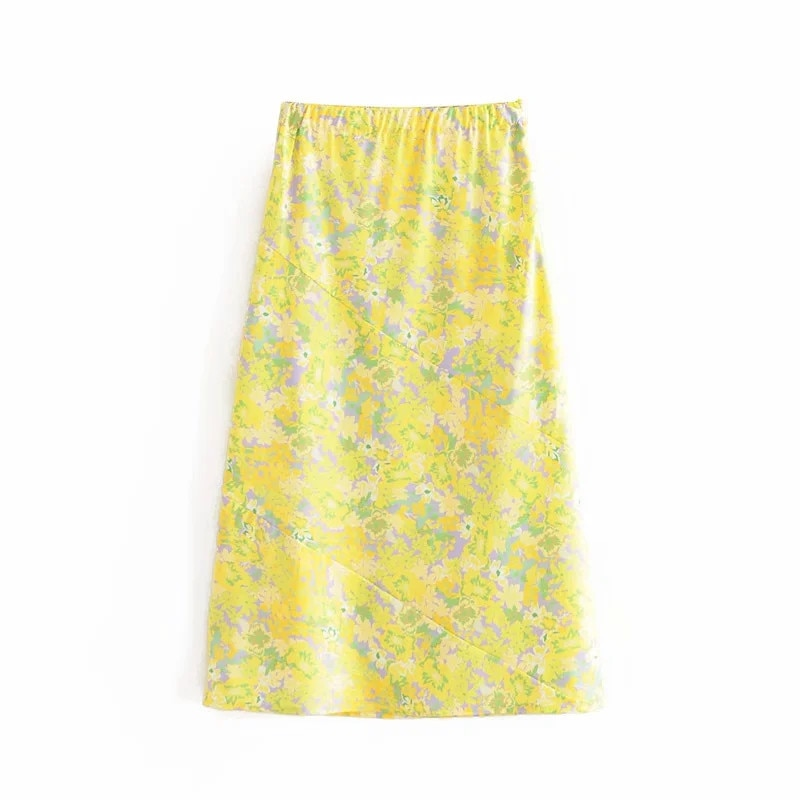 chic lady a-line fashion floral print yellow summer women long skirt 2020 vintage floral print elastic high waist skirts femme 3