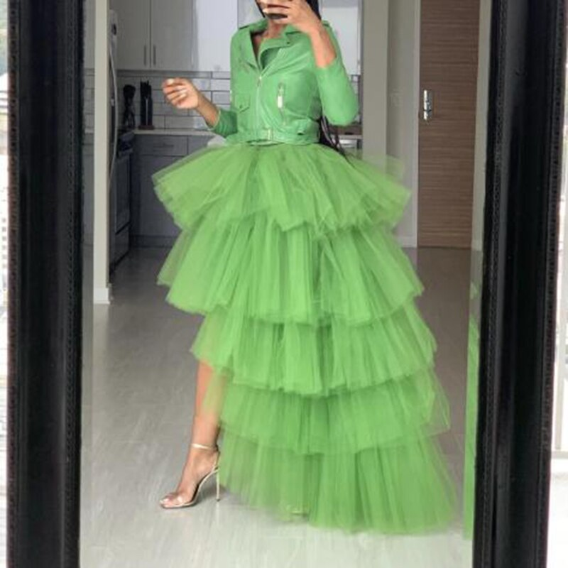 Pretty Green High Low Tulle Skirts Elegant Puffy Tulle Ruffle Elastic Waist Maxi Skirt Chic Tiered Tulle Women Long Skirt