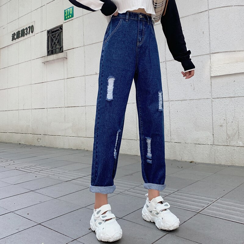 Ripped Mom Jeans High Waist Straight Jeans For Women Wide Leg Denim Pantalon Jambe Large Femme Distressed Jeans Pants 2020 New 2