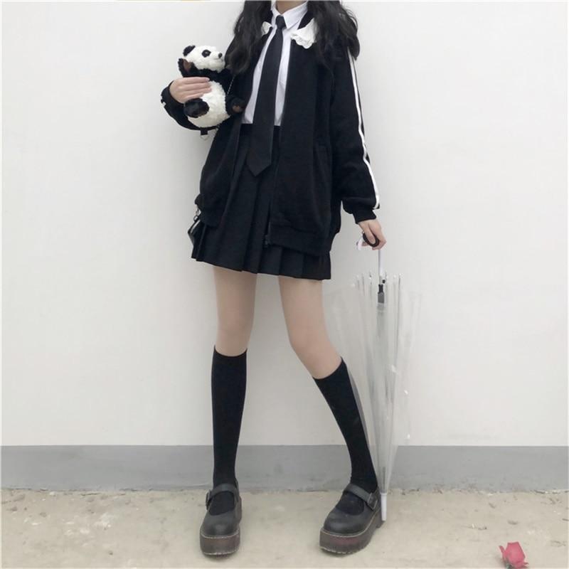 Japanese Preppy Style Sweet Soft Girly Black Zip JK Women Jacket 2020 Autumn Cardigan Peter Pan Collar Full Sleeve Ladies Coats 4