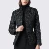 Jacket Elegant Floral Printed Black Slim Quick Duck Down Coat
