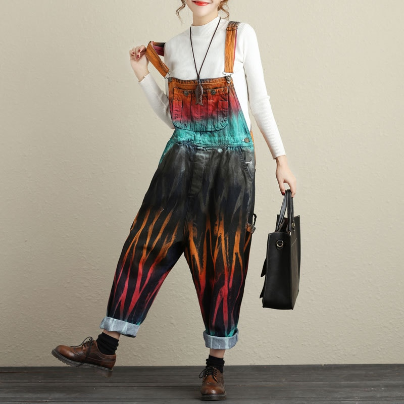 New Autumn Washed Vintage Jeans Strapless Playsuits Painted Rompers Womens Jumpsuit Drop Crotch Wide Leg Trousers Female 3