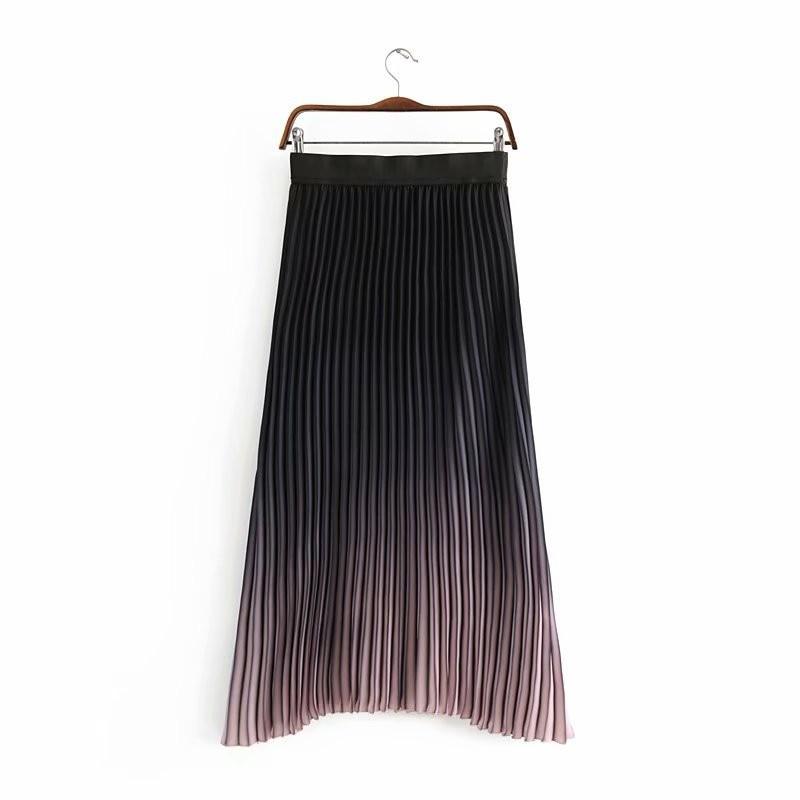 Spring Summer Women Gradient Color Pleated Skirt Elastic High Waist Long Skirt Fashion Ladies Ankle Length Skirt Streetwear 3