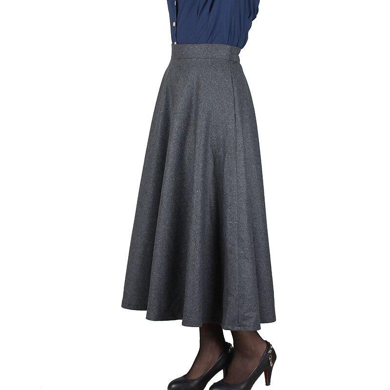 Plaid Skirt Women Long Skirt British Style Woolen Plaid Skirts Spring Vintage Wool Tartan Umbrella Autumn Elegant Female Skirts 4