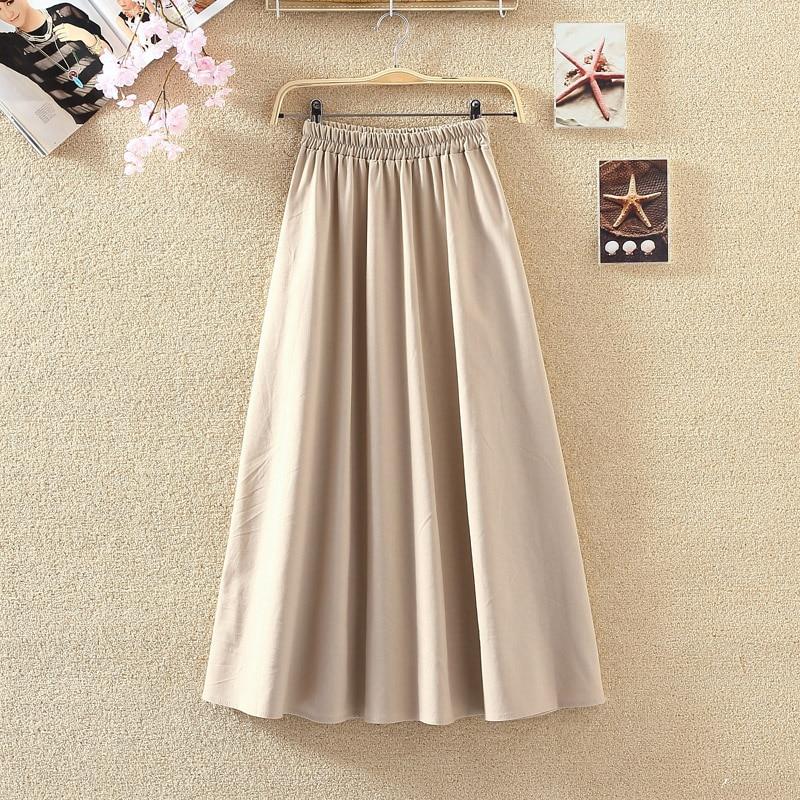 2019 Summer Women Long Skirts Vintage Cotton And Linen High Waist Women Skirts Saia Summer Skirt Womens Jupe Femme Saias Faldas 1