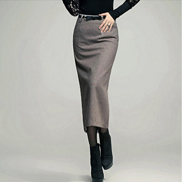 Autumn Winter Skirt Ladies Lengthy Skirt Thick Excessive