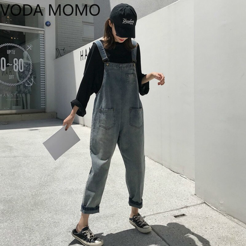 Women Clothing Sleeveless Denim Jumpsuit Women Overalls Jumpsuits loose Suspenders Jeans Women Overalls Female Rompers jeans 1