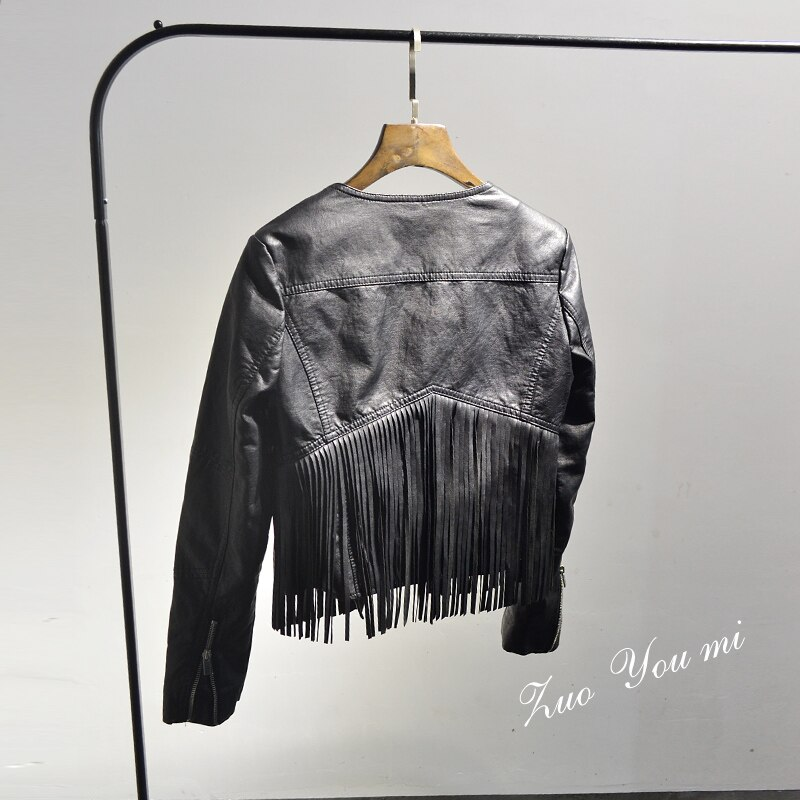 2020 Solid Coats Offer Tassel Full Women Jacket New 2020 Spring and Autumn Pu Leather Black Long Sleeve Zipper Jacket 4