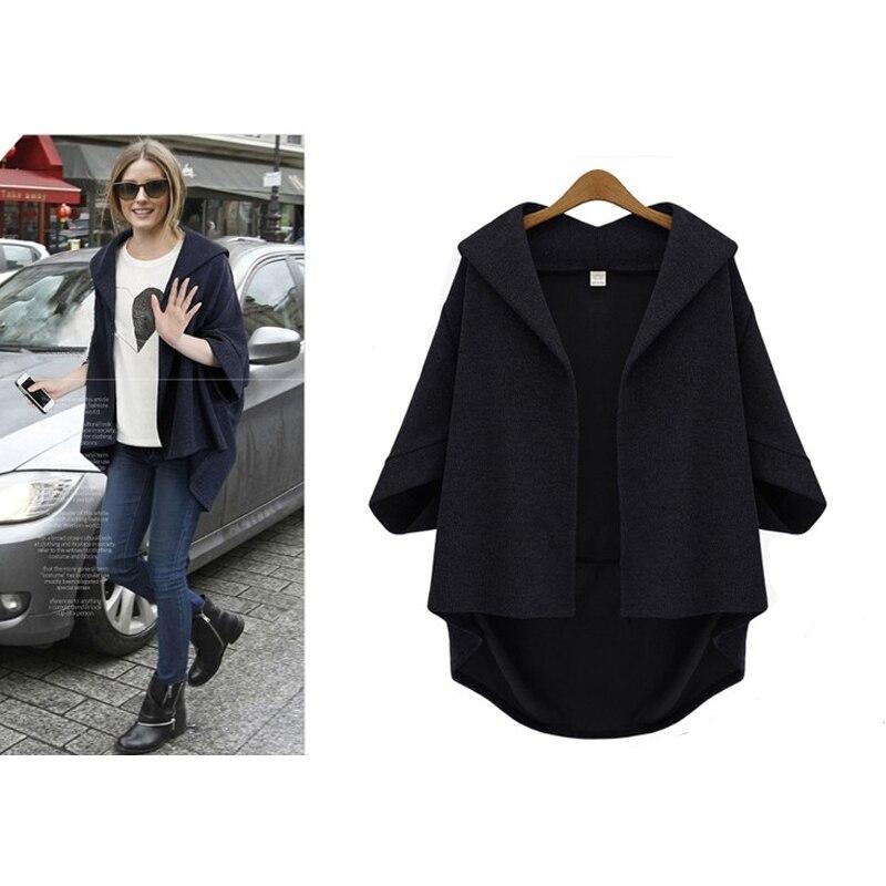 European Style Women Jackets 2019 Autumn Winter Ladies Asymmetrical Outerwear Wool&Blends Bawting Sleeve Coats Plus Size XL- 6XL 3