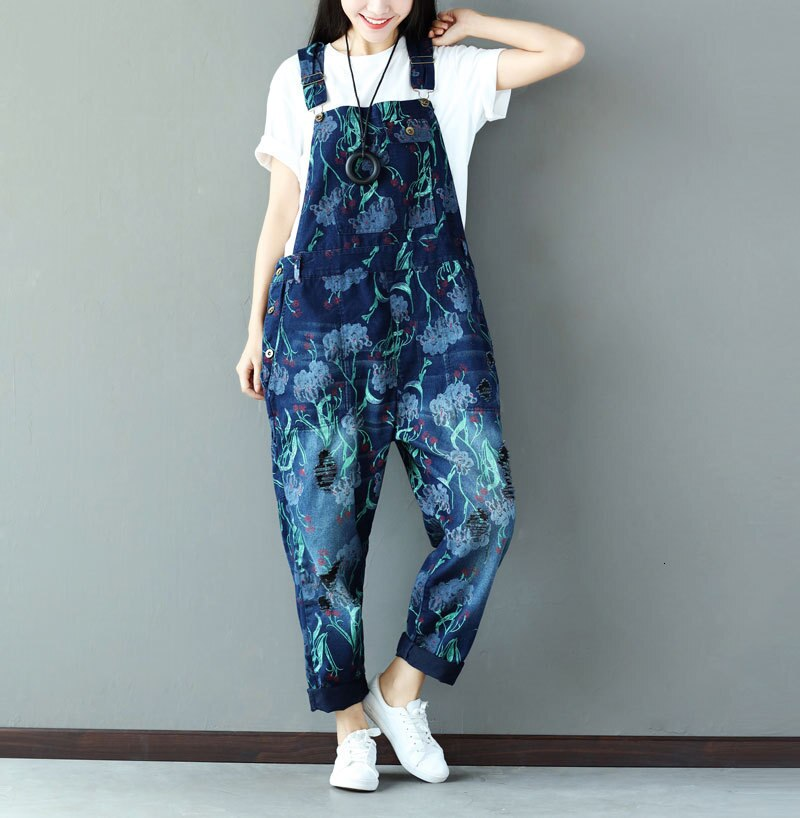 #0349 Suspender Jumpsuits Women Vintage Loose Denim Overalls For Women Sleeveless Ladies Jeans Jumpsuits Printed Fashion 2