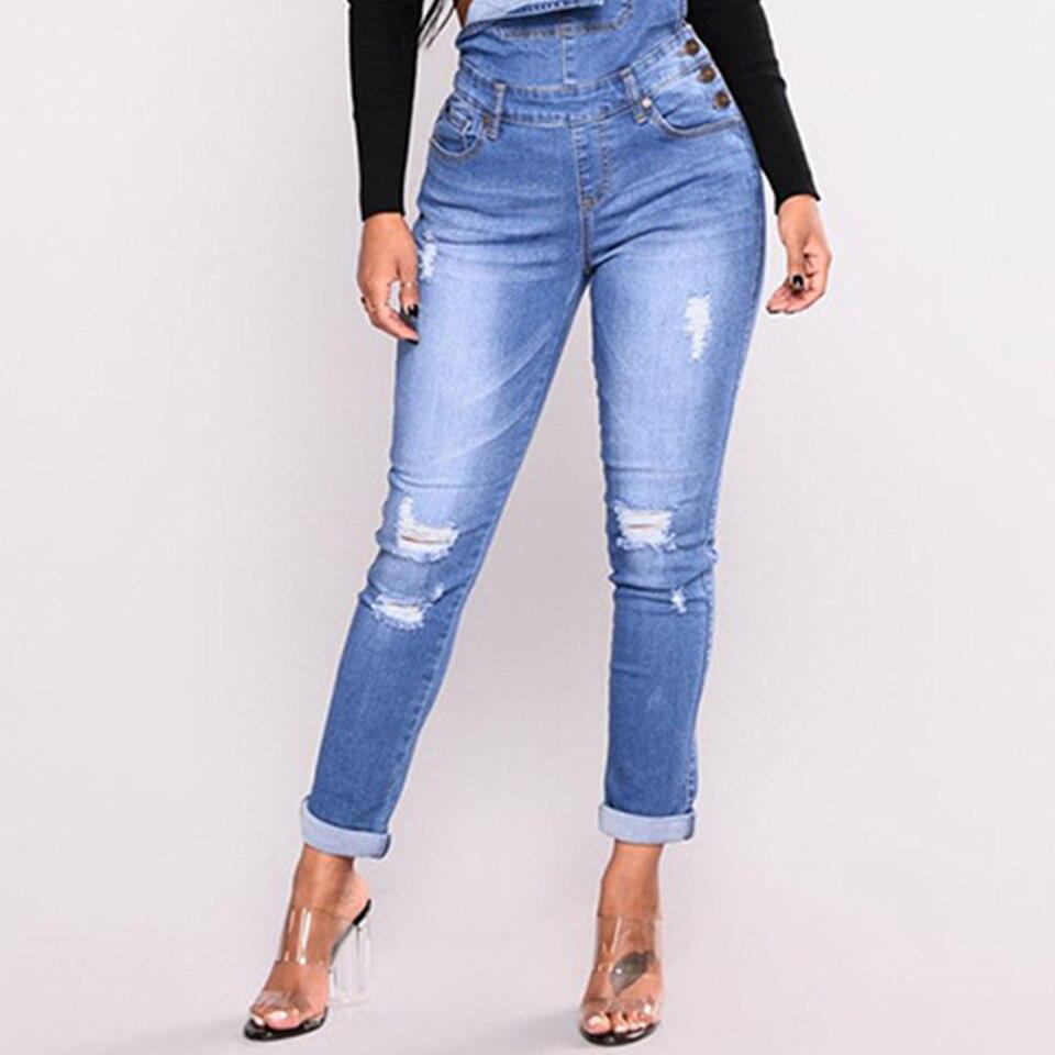 UGOCCAM Women Denim Overalls Jeans Bib Female Plus Size Slimming Denim Stretch Rompers Skinny Jeans Salopette vaqueros 3XL 1