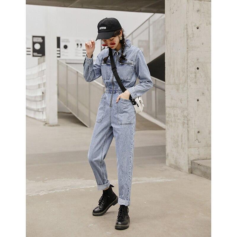 Fashion Streetwear Long Sleeve Denim Overalls Women Elastic High Waist Tunic Bodycon Rompers Zipper Big Pockets Jeans Jumpsuit 4