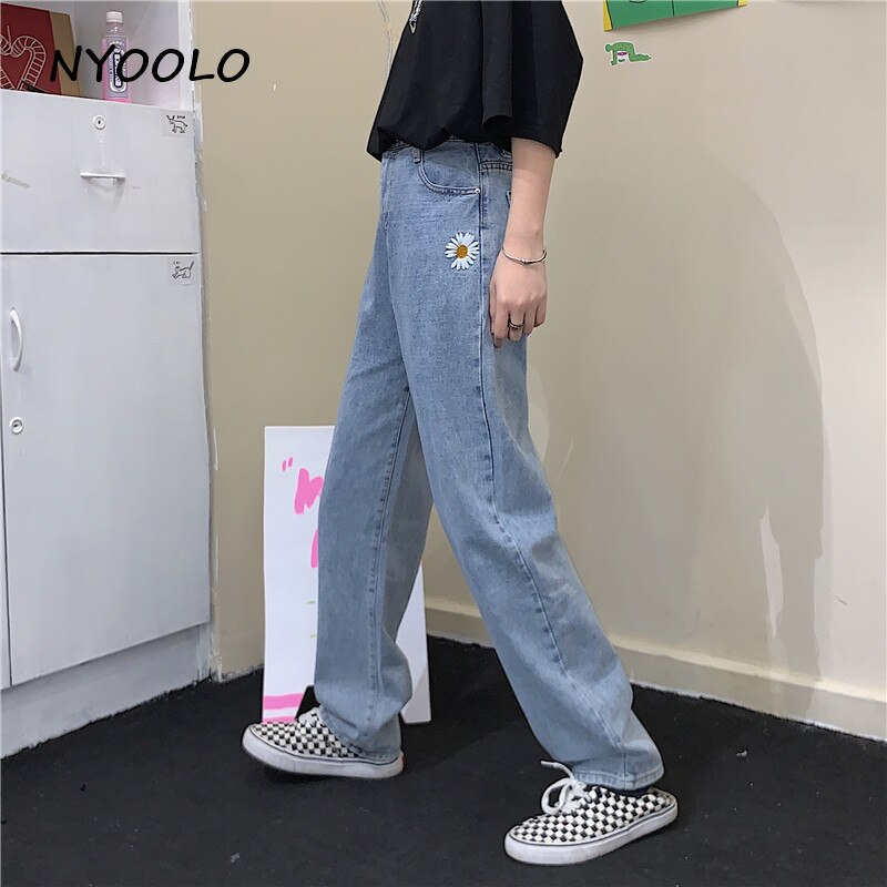 NYOOLO Harajuku style ulzzang daisy embroidery denim pants women men Casual streetwear high waist full length Straight jeans 2