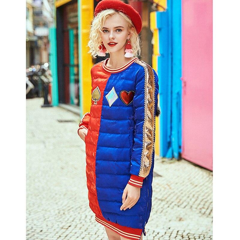 2020 Winter raccoon fur diamond long coats fashion embroidery sequins patch designs women down jackets 4