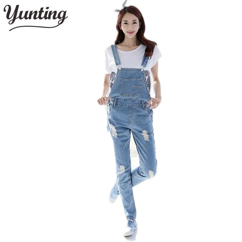 2019 Fall Fashion Brand Style Women Jeans Rompers Macacao Feminino Ripped Jumpsuit denim bib overalls women
