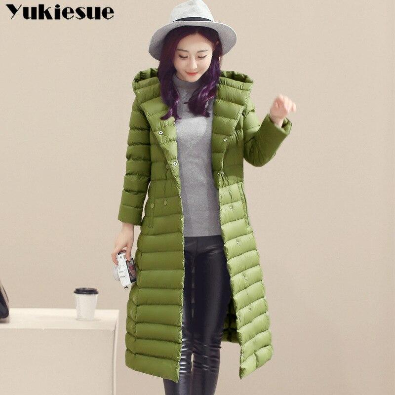 2018 Spring Plus Size 3XL Long Womens Down Jackets Ultra Light 90% Duck Down Coat Winter Hoodie Puffer Jacket womens parkas 3