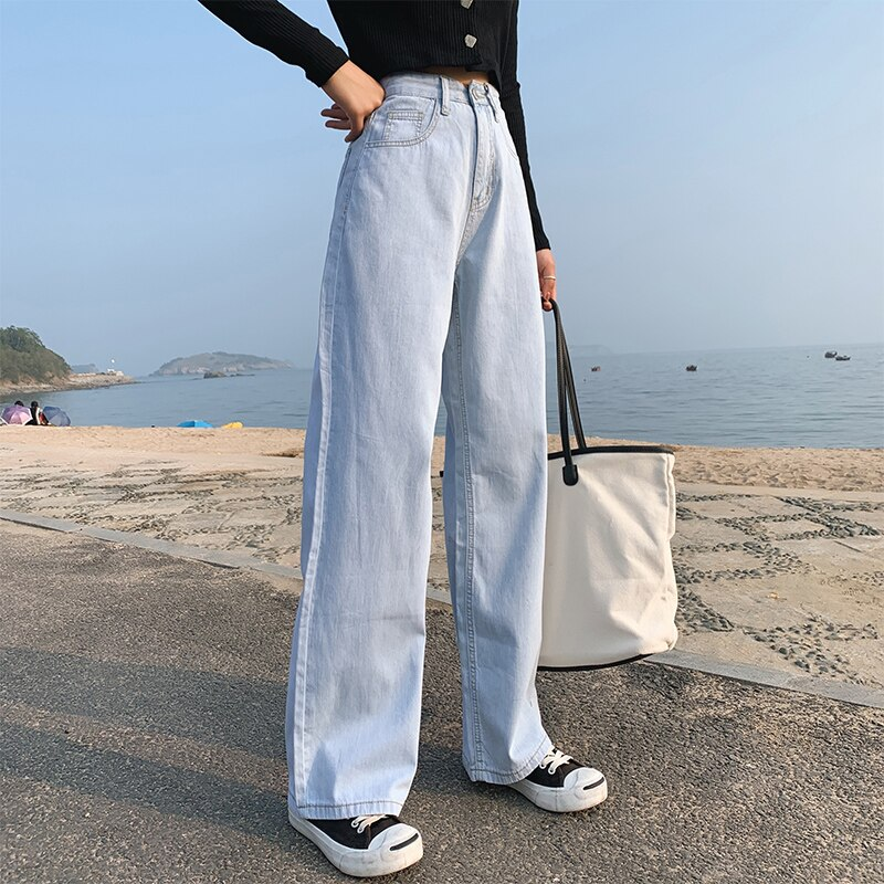 Women Fashion Spring and Autumn Wide Leg Jeans Straight Stretch Thin Korean Version Large Size High Waist Jeans Full-length blue 4